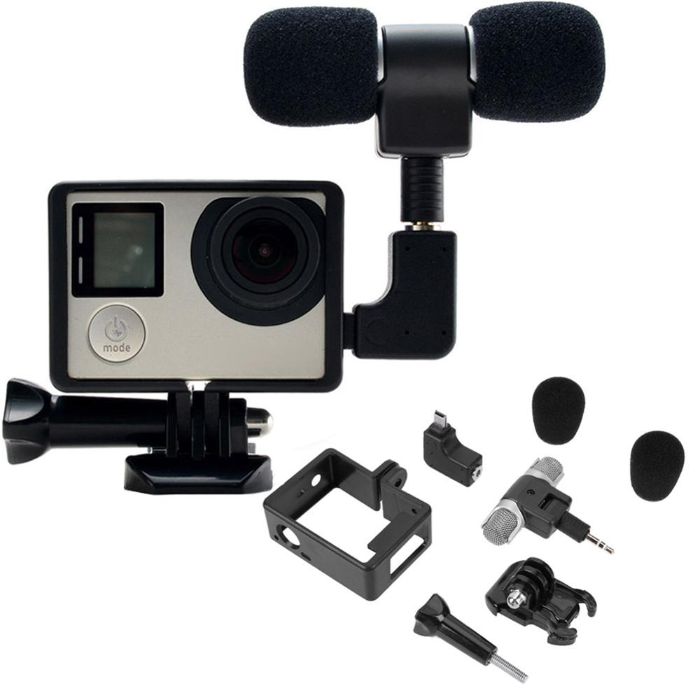 Noise Canceling Mini Condenser Microphone Stereo 3.5mm Camera Accessory Stereo Camera  Microphone For GoPro Hero 3/3+/4