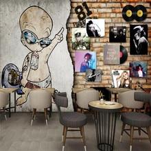 European retro rock music record brick wall bar wall custom wallpaper mural decoration background цена 2017