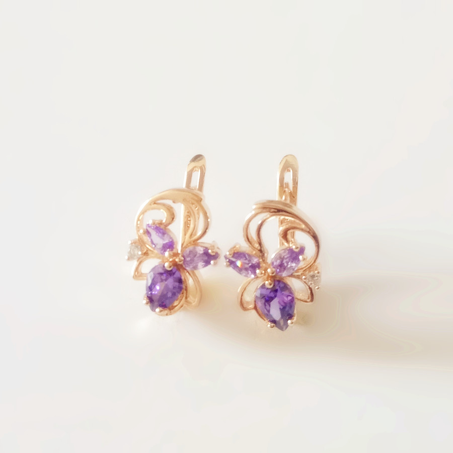 купить Fashion New Earring Gold Color Women Jewelry Purple Heart Cubic Zircon Cute Drop Earrings по цене 305.31 рублей
