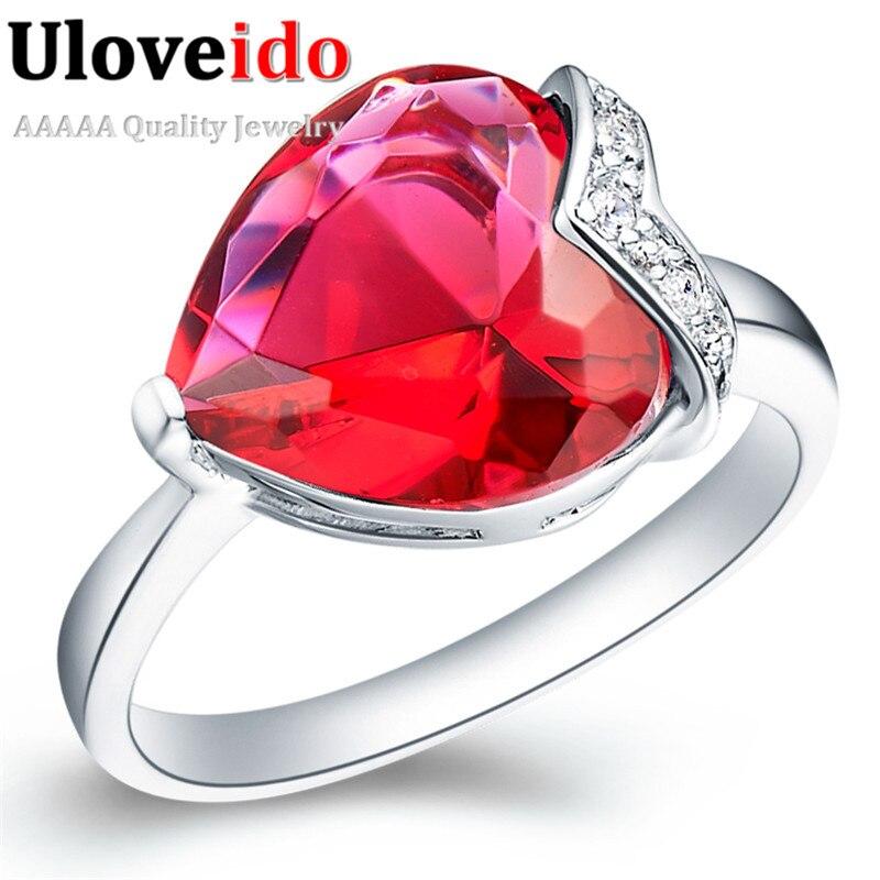 ②Uloveido сердце кольцо большие кольца для женщин кристалл ...