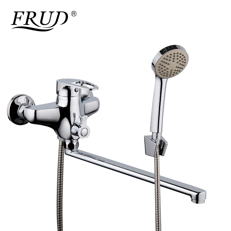 FRUD High Quality 1 Set Rainfall Shower Head Set Wall Mounted Cold and Hot Water Mixer Taps Shower system rack with mixer R22065