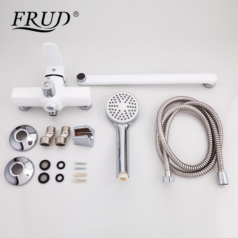 FRUD New Arrival Classic White Shower Faucet Long Spout Bathtub Faucet  Zinc Alloy Tap Set Bathtub Rain Shower Mixer R22301