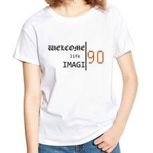 Stylish Women Art Letter Print Soft Tee Shirt Short Sleeve Couple T-shirt