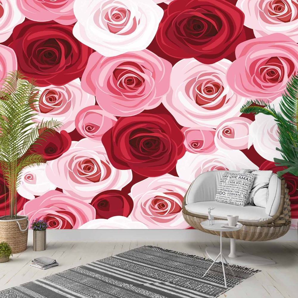 Else Pink Cream White Roses Flowers Floral 3d Photo Cleanable Fabric Mural Home Decor Living Room Bedroom Background Wallpaper