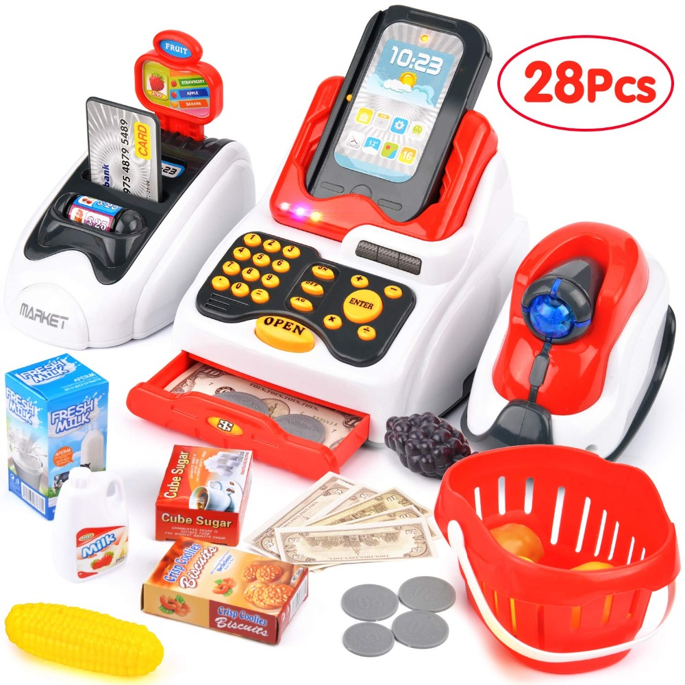 Toy Cash Register with Checkout Scanner Fruit Card Reader Credit Card Machine Play Money and Food