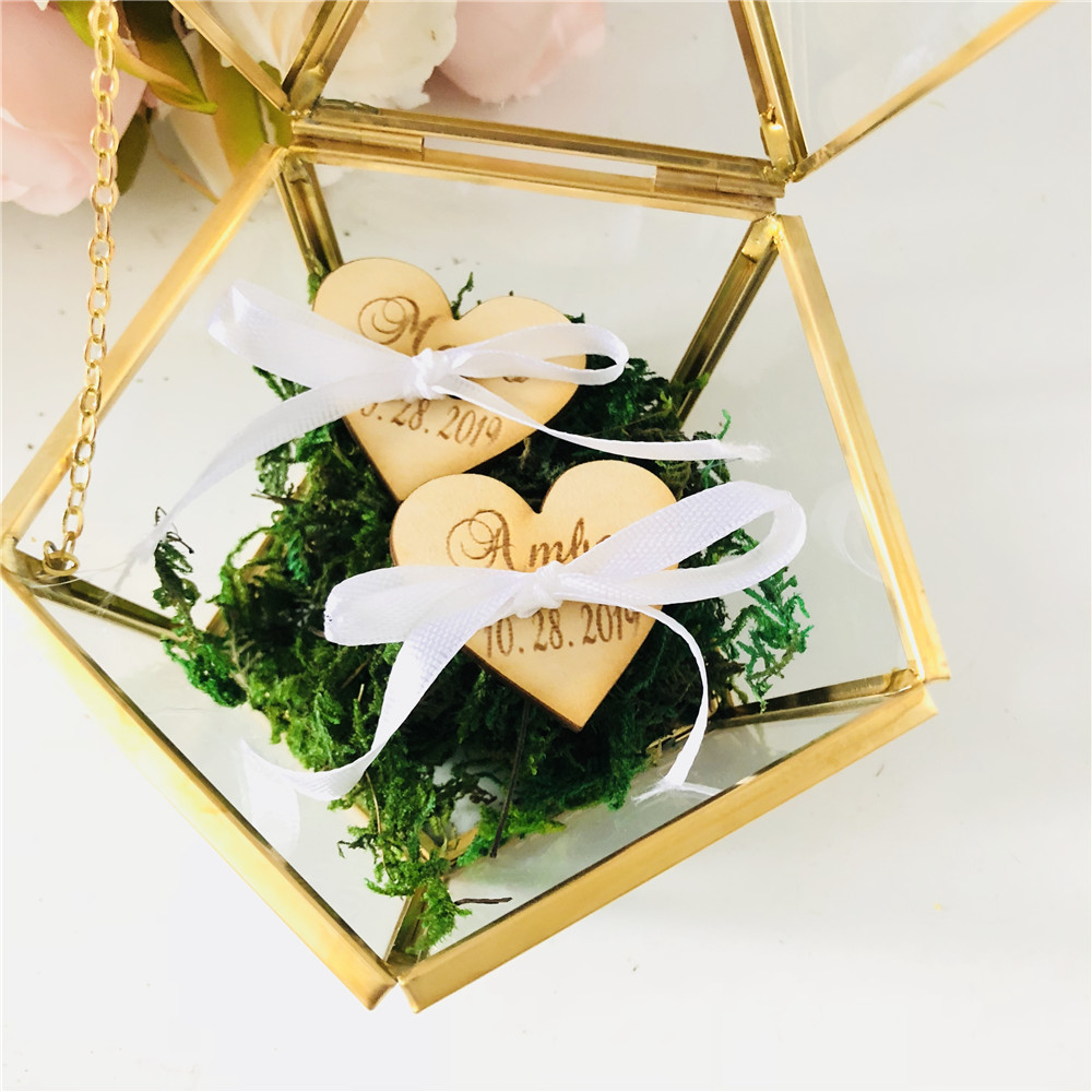 Pillows Wedding-Ring-Box Personalized Ring-Hold Custom Glass Rustic Pentagon Bearer