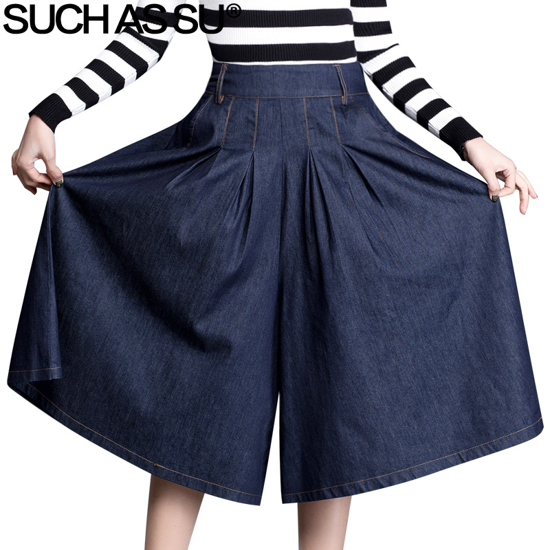 Denim Blue Women   Wide     Leg     Pants   2018 Spring Summer Sexy Mid Long Culottes   Pants   Elastic Waist Large Size Female Loose   Pants