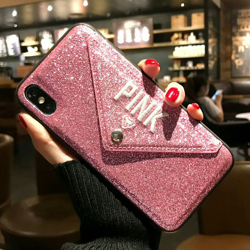 Luxury PINK Brand Glitter Embroidery Leather <font><b>Victoria</b></font> Hot Cute Pink Case for <font><b>iPhone</b></font> 7 Plus 7+ 8 Plus <font><b>6</b></font> 6s Plus X Phone <font><b>Secret</b></font> image