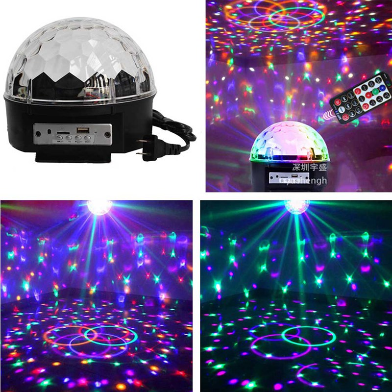Disco lights for parties LED Stage Lights BLUETOOTH MP3 Crystal Magic Rotating Ball Remote control 6 colors AU/EU/UK/US plug