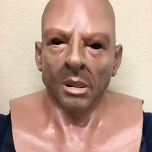 Лысый голова Жесткий человек бандит солдат маска с человеческим лицом накладные латексные олени Вечерние Маски