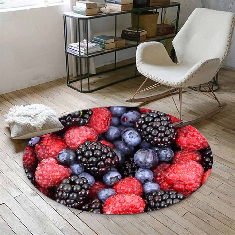 Else Tropical Red Black Blackberry Fruits 3d Print Anti Slip Back Round Carpets Area Rug For Living Rooms Bathroom