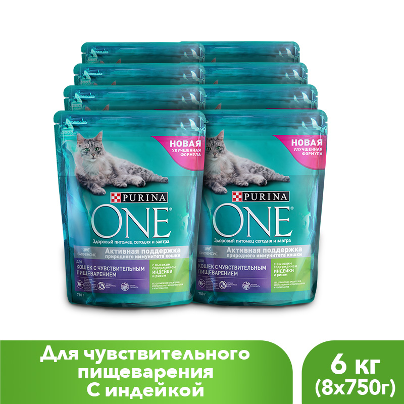 Purina ONE dry food for cats with sensitive digestion with turkey and rice, 6 kg. with 10