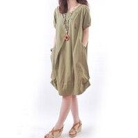 Women Reteo Linen Dress 2018 Fashion Casual O Neck Short Sleeve Solid Pockets Vintage Summer Dresses