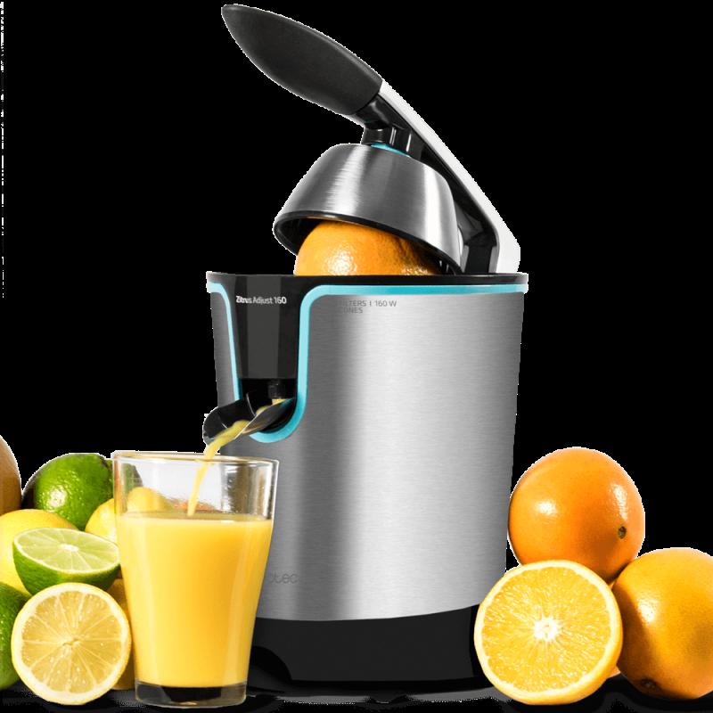 O espremedor laranja elétrico de cocotec zitrus ajusta o ideal 160 preto para extrair os sucos máximos saudável fácil de usar