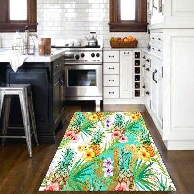 אחר טרופי פירות ירוק עלה אננס קיץ 3d הדפסת החלקה מיקרופייבר מטבח מודרני דקורטיבי רחיץ אזור שטיח מחצלת-בשטיח מתוך בית וגן באתר