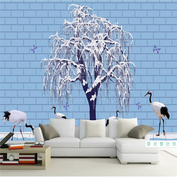 Brick Wallpapers Stone Wall Murals 3D Photo Wallpapers for Living Room Bedroom Background Walls Papers Home Decor Trees Birds 3D фото