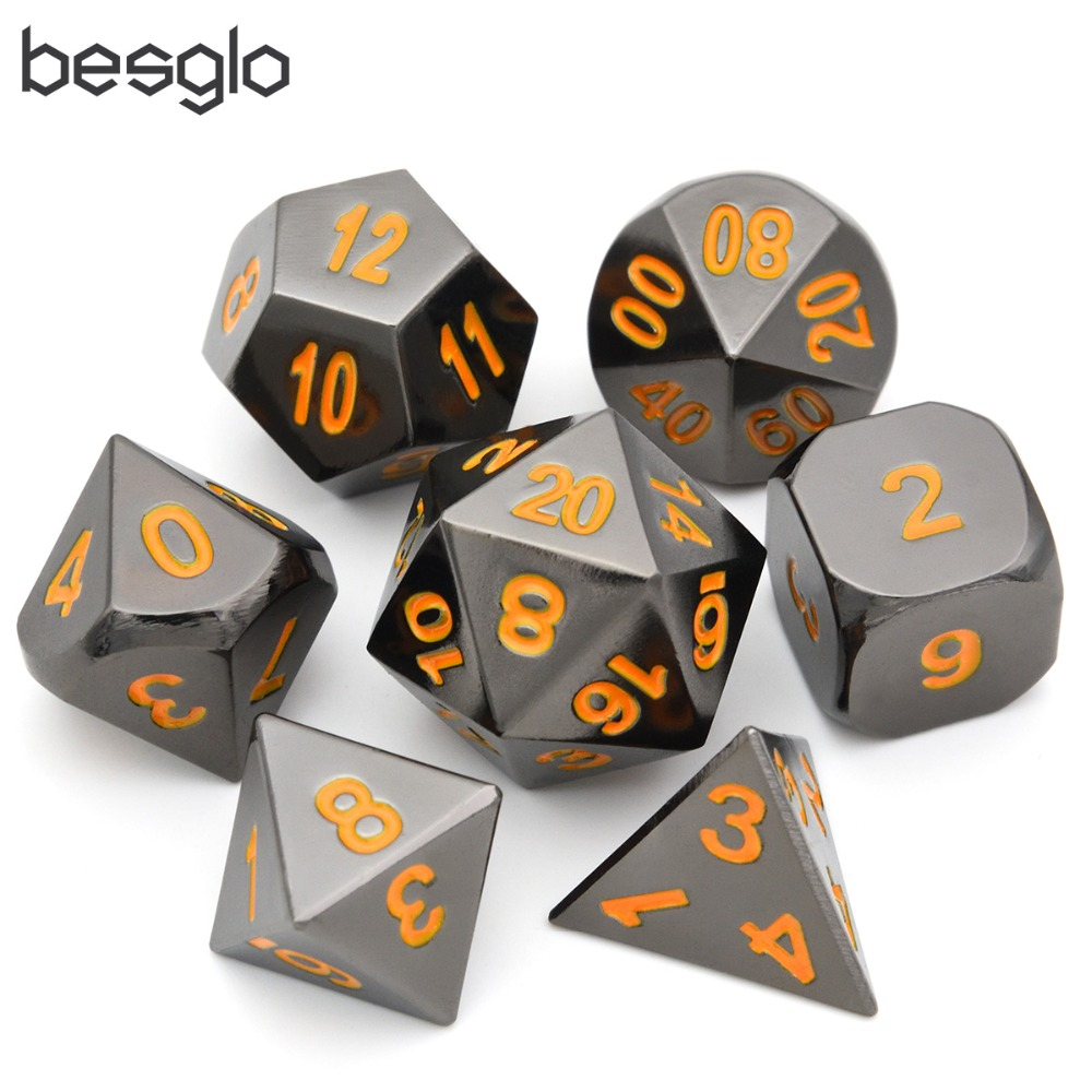 Black Chrome Metal RPG Set With Orange Numbers For Dungeons And Dragons RPG Dice Gaming And Math Teaching Dice Pouch