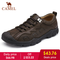 CAMEL Autumn New Men Shoes Youth Fashion Casual Non slip Outdoor Genuine Leather Lacing Retro England Footwear Man Flats