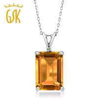 8 22 Ct Octagon Yellow Citrine White Diamond 925 Sterling Silver Pendant