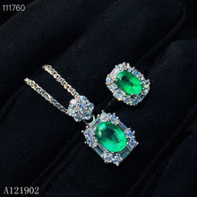 KJJEAXCMY exquisite jewelry 925 sterling silver inlaid natural gemstone Emerald Pendant Necklace Ring suit support detection real s925 sterling silver necklace pure emerald pendant bizuteria gemstone silver 925 jewelry green emerald pendant for women