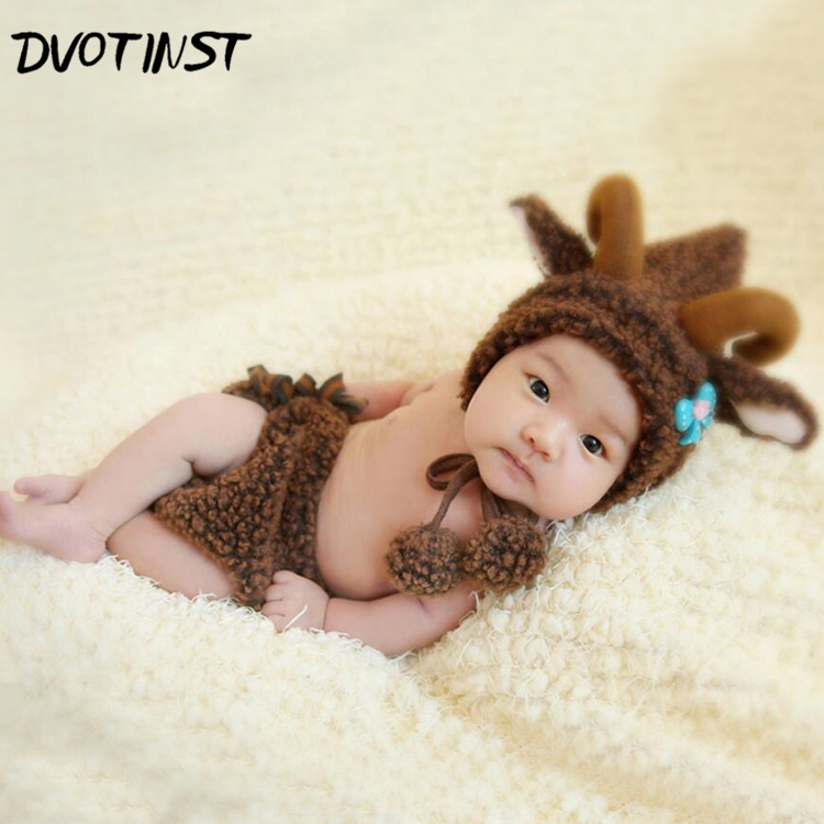 Newborn Baby Photography Props Unisex Fotografia Animals Brown Sheep Shorts+Hat Plush Costume Outfit Studio Shoot Photo Playsuit