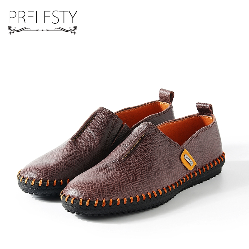 Prelesty Autumn Stylish High Quality Genuine Leather Men Loafers Slip-On Casual Shoes Man Luxury Brand Men's Driving Shoe prelesty big size spring autumn breathable men luxury brand driving shoes handmade leather loafers casual slip on footwear male