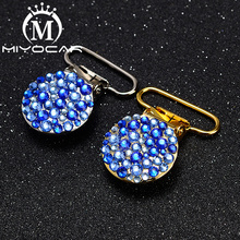 MIYOCAR 10pcs/lot bling blue round shape gold sliver pacifier clip dummy holder good quality SP027