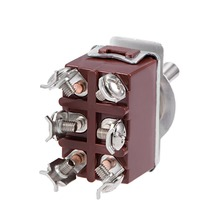 UXCELL 1Pcs DPDT Switch Momentary Rocker Toggle Switch Heavy-Duty 20A 250V 6P ON/ON Metal Bat Electrical Equipment Supplies 10 pieces 6 pin toggle dpdt on off on momentary switch 15a 250v