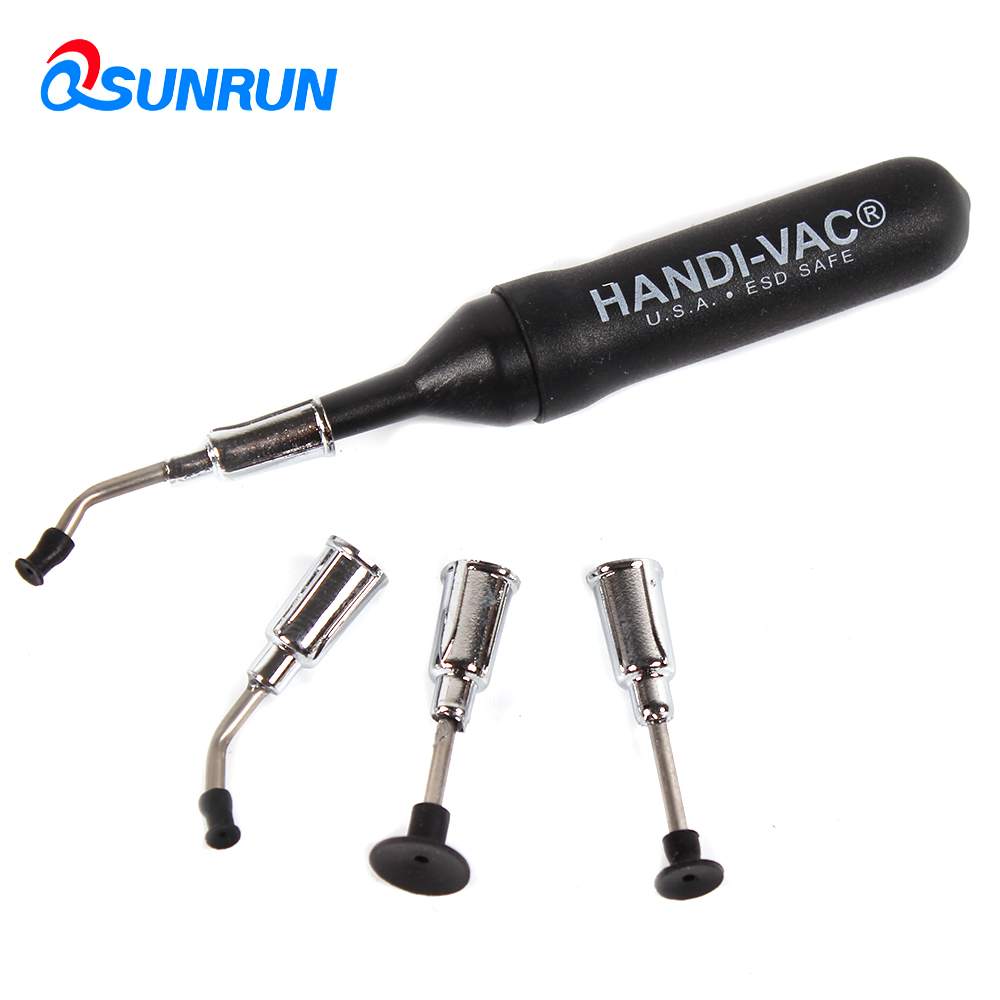 QSUNRUN Black Mini Antistatic ESD IC Vacuum Pen With 4 Suction Headers IC SMD Pick Up Vacuum Suction Pen Tools free shipping vacuum suction pen qs 2008 for ic smd suction pick up