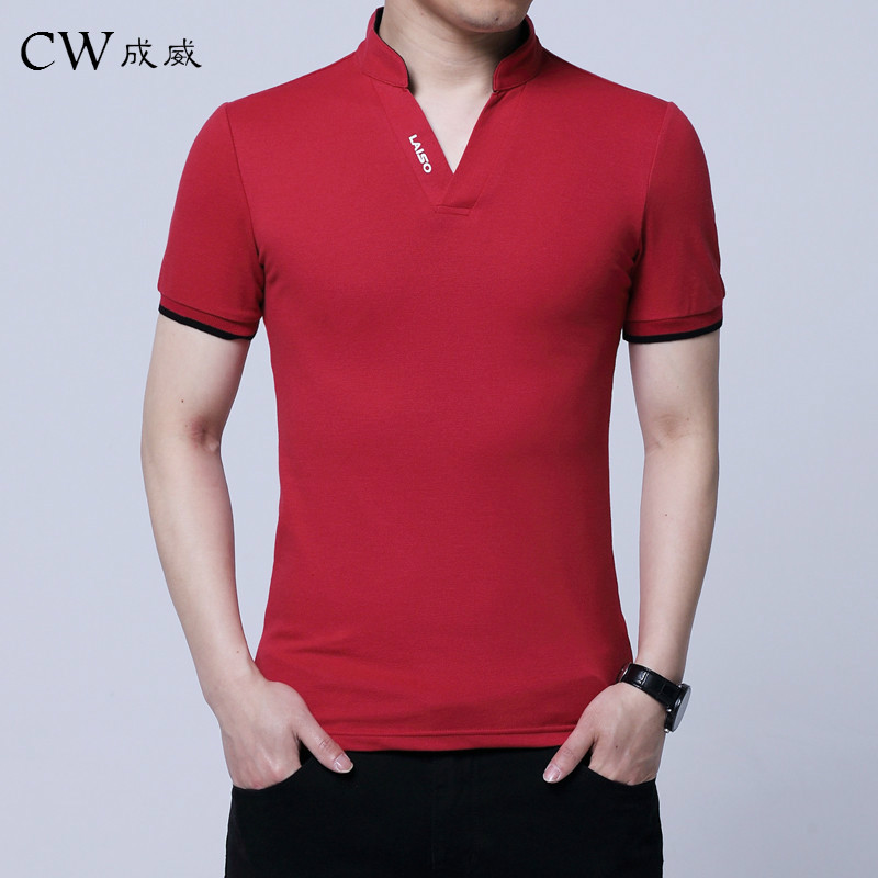 2018 Summer NEW Fashion   POLO   Shirt Men, Cotton Casual Stand Collar Short Sleeve   POLO   Shirts, Male Pure Color V-Neck   POLO   Shirt
