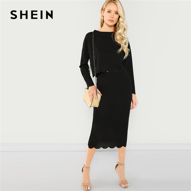 d546f0685a183e SHEIN Black Office Lady Highstreet Scallop Trim Solid Long Sleeve Top And Skirts  Set 2018 Autumn Elegant Women Tow Pieces