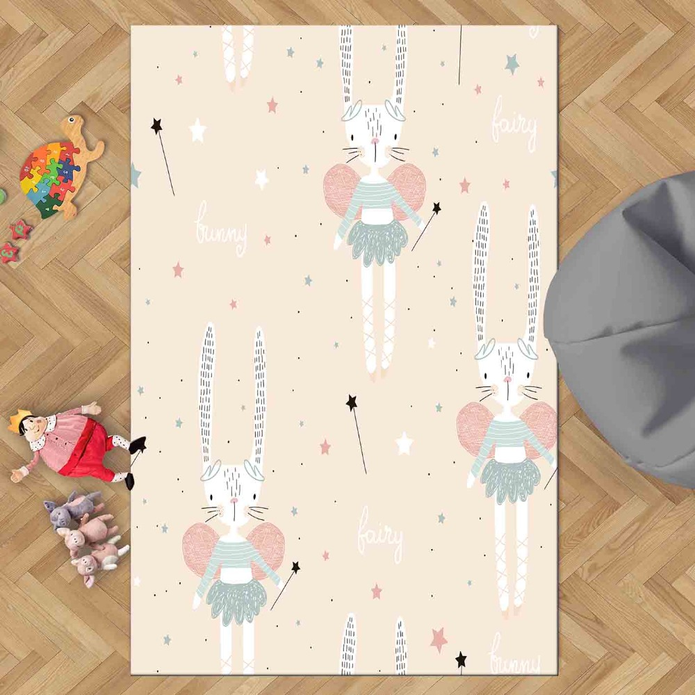 Else Pink Floor Gray Blue Rabbit Fairy Gilrs Stars 3d Print Non Slip Microfiber Children Kids Room Decorative Area Rug Kids  Mat