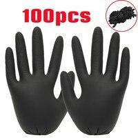 100ピース/ロット黒使い捨て手袋ラテックス防水非毒