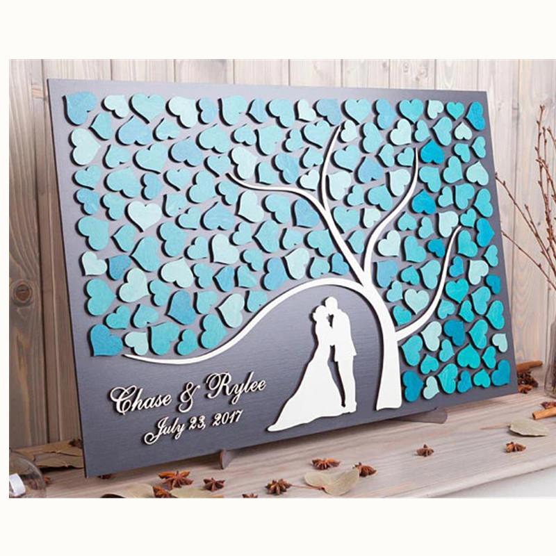 Personalized 3D Wedding Guest Book Alternatives Tree Of Hearts Wedding Decor Unique Guestbook Wooden Tree Of Life Wedding Gift