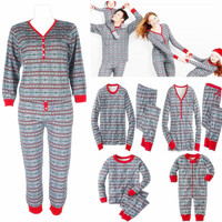 Snowflake Patterned Matching Family Christmas Pajamas Cute Father Son Mother Daughter Matching Xmas PJS