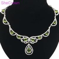Elegant 25.0g Green Peridot White CZ Ladies 925 Silver Necklace 18.5 19.5inch 52x34mm