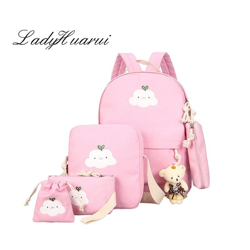 Canvas Backpacks Clouds Printing Women Backpack High Quality School Bags For Teenage Girls Cute Bookbags Mochila 5 set Q1