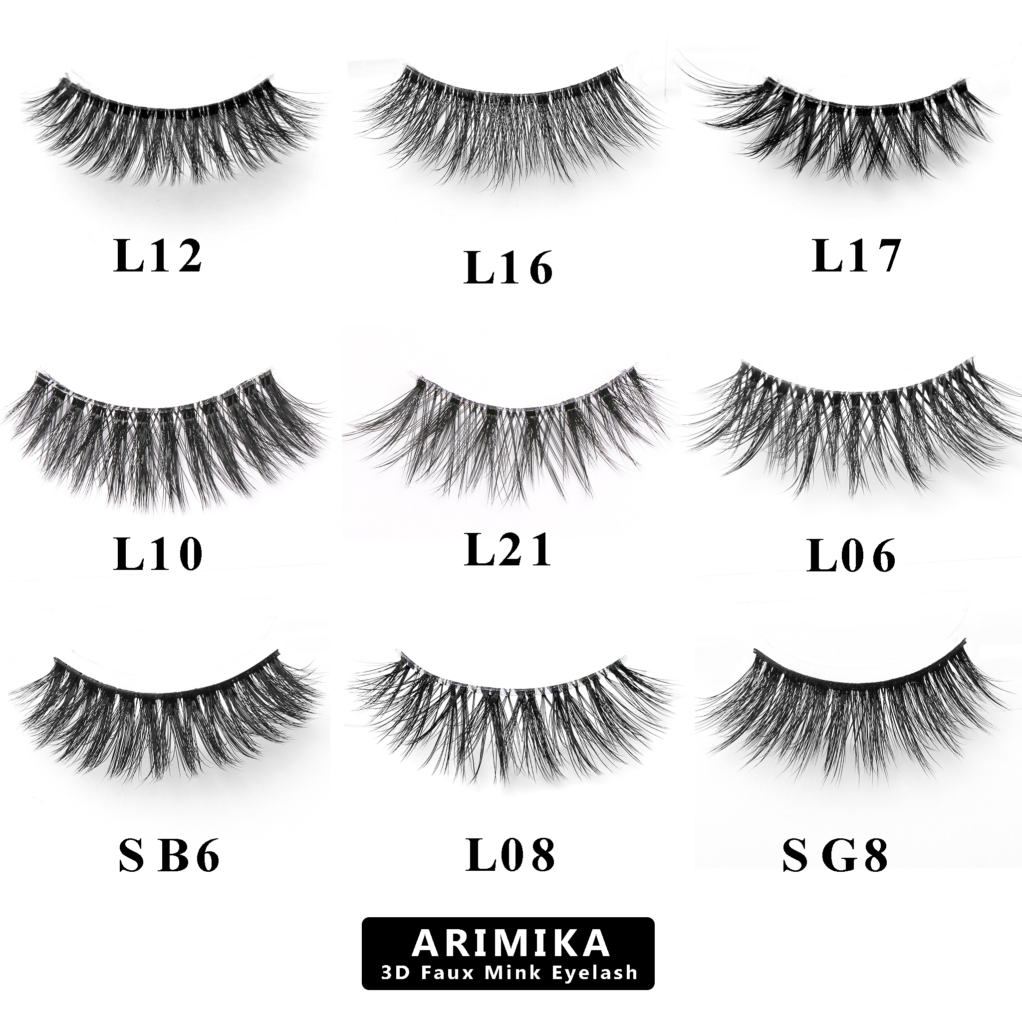 0ff5f8cc689 Wholesale 9 Variety Styles Arimika Handmade 3D Faux Mink False Eyelashes  Extensions-Invisible Clear Band