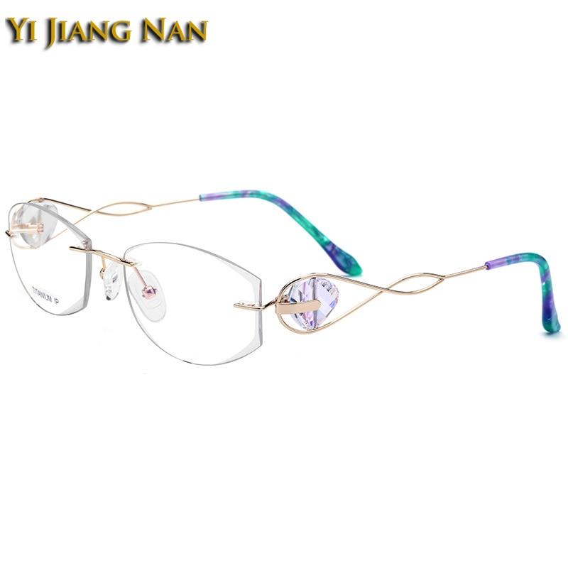 Pure Titanium Rimless Eyeglasses Diamond Cutting Lens Jewelry Stone Design Optical Glasses Frame for Women