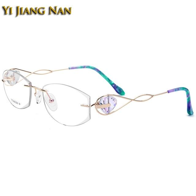 b412566be6 Yi Jiang Nan Brand Pure Titanium Rimless Eyeglasses Diamond Cutting Lens  Jewelry Stone Design Optical Glasses Frame for Women