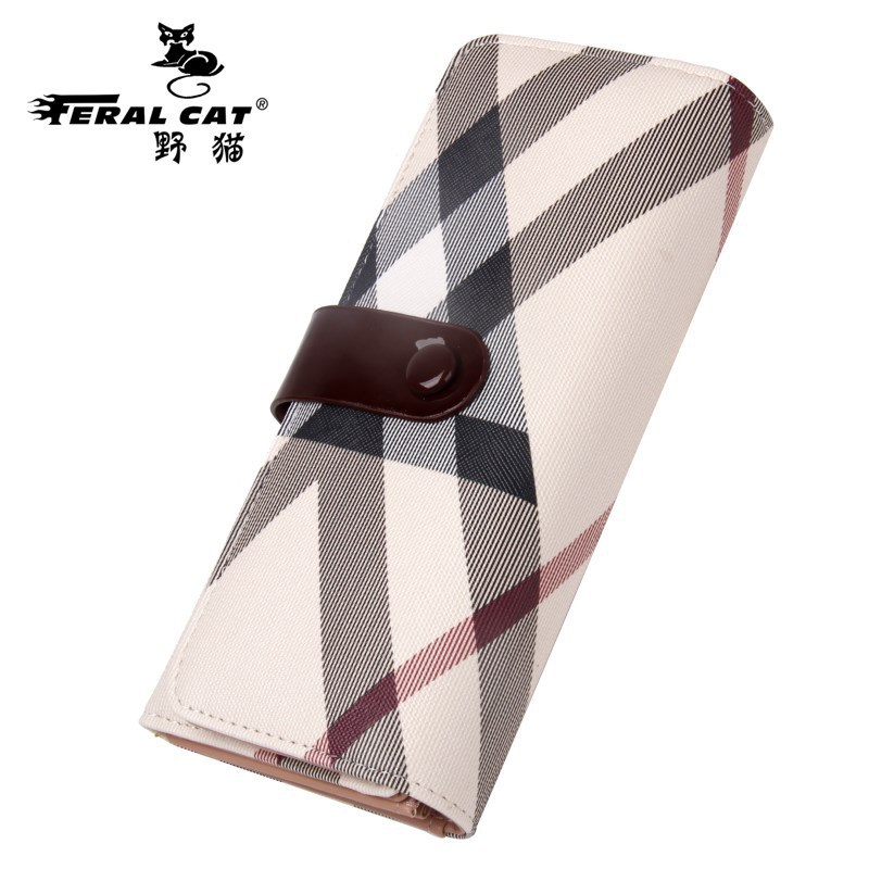 FERAL CAT 2017 New Simple Ladies Design High Quality Genuine Bags Clutch Wallet Fashion Dollar Price Long Purse Card Hol