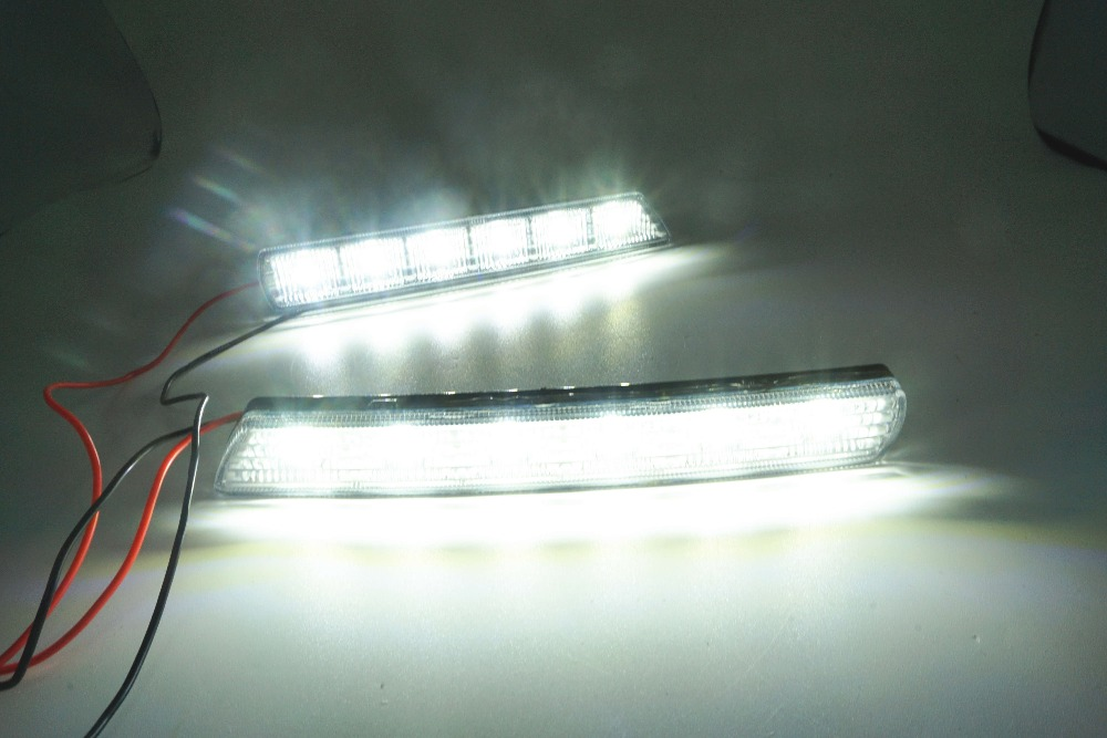 1 Pair  For Mitsubishi ASX 2010 2011 2012 Daylight Car LED DRL Daytime Running Lights White Fog head Lamp cover car styling car modification lamp fog lamps safety light h11 12v 55w suitable for mitsubishi triton l200 2009 2010 2011 2012 on