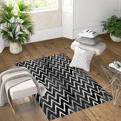 Else Black White Wave Lines Geometric 3d Pattern Print Non Slip Microfiber Living Room Decorative Modern Washable Area Rug Mat
