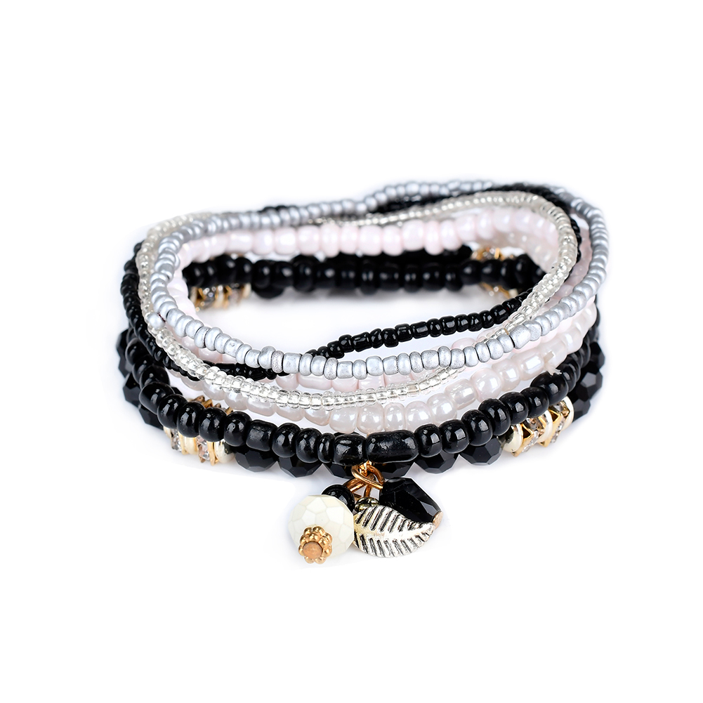 Us 4 85 50 Off Lureme Women S Bohemian Jewelry Beads Leaf Charms Multi Strand Textured Stackable Bracelet Set Pulseiras Bl003063 In Charm