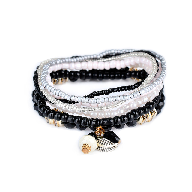 Lureme Women S Bohemian Jewelry Beads Leaf Charms Multi Strand Textured Stackable Bracelet Set Pulseiras Bl003063