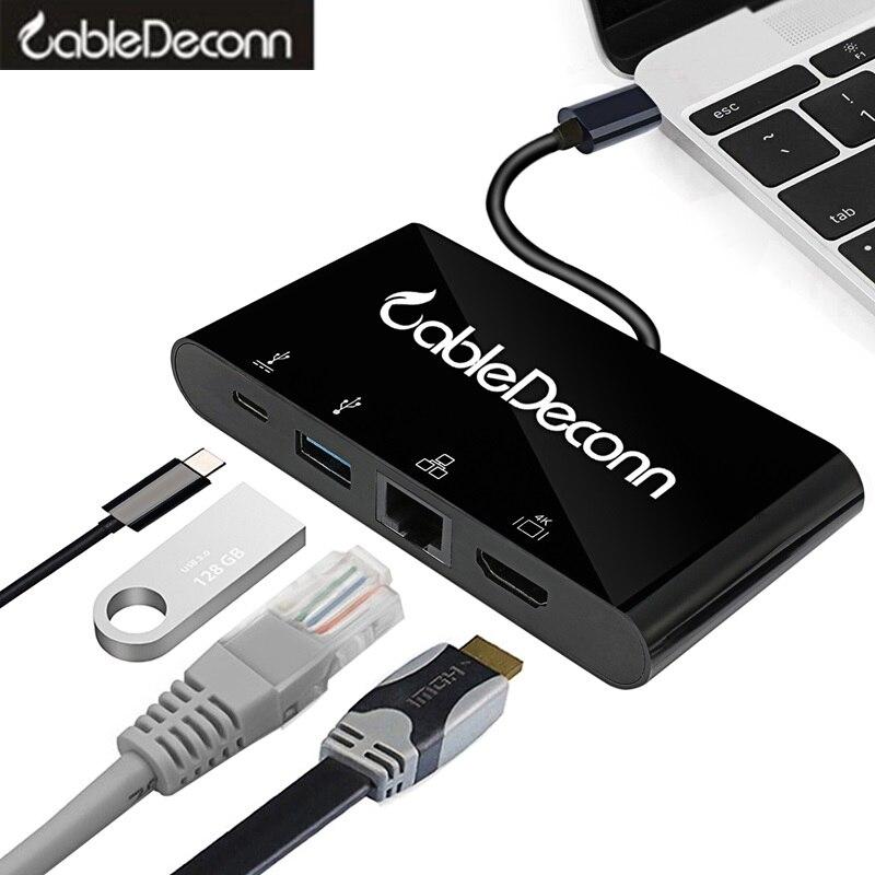 Thunderbolt 3 station d'accueil USB hub usb3.1 type-c vers hdmi rj45 usb3.0 adaptateur câble convertisseur pour 2017 macbook pro Dell XPS asus