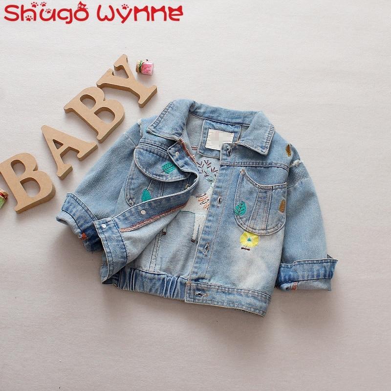Baby Girls Vintage Hole Denim Jeans Jacket Coat Long Sleeve Lapel Collar Embroidery Deer Casual Children Kids Outerwear casaco