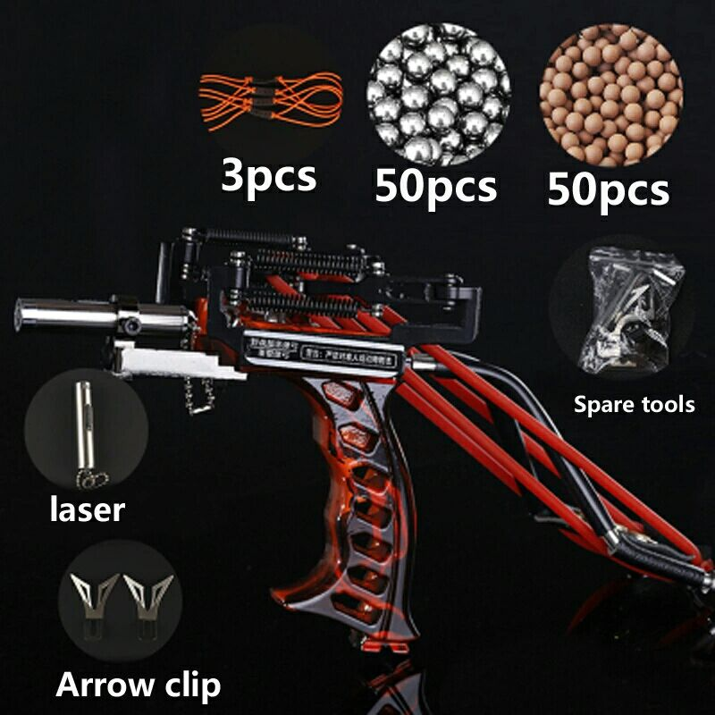 Powerful Fishing Slingshot Accurate Sling Shot with Arrow Rest Red Laser Pointe Fishing Coils Slingshots Fishing