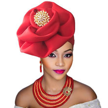 2018 Nigerian gele headtie with beads already made auto hele turban cap african aso ebi gele aso oke headtie with beads(China)