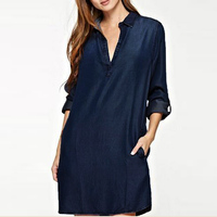 S 5XL Fashion Women Sexy V Neck Plunge Jean Look Denim Blue Long Flod Sleeve Trun